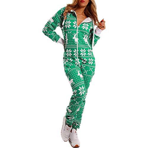 Dasongff Jumpsuit Renntier Motiv Schneeflocke Overall Onesie Pyjama Schlafanzug...