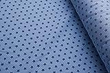 Tela de popelina de algodón azul claro con estrellas azules oscuras 150 x 50 cm