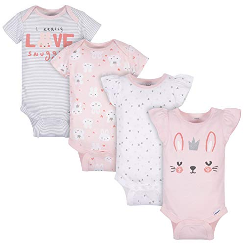 Gerber Baby Girls' 4-Pack Short Sleeve Onesies Bodysuits, Pink Bunnies, Newborn