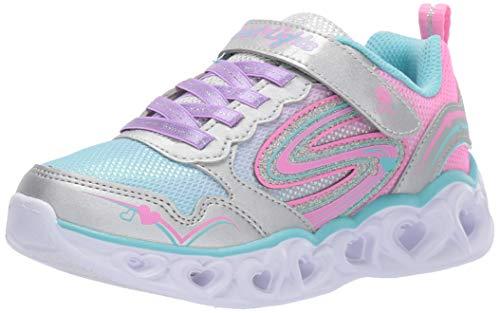 Skechers Move 'N Groove Sparkle Spinner Sportschuhe, Mädchen, Grau - Silberfarbener Glitzer. - Größe: 12 UK