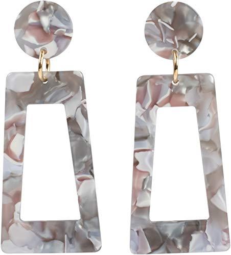 styleBREAKER Damen Statement Ohrringe in Trapezform mit marmorierter Oberfläche mit Stecker, Ohrhänger, Ohrschmuck 05090026, Farbe:Grau-Weiß