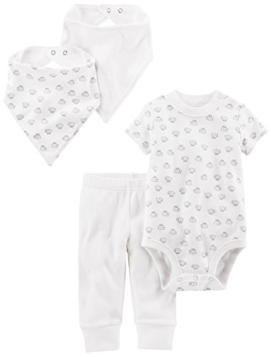 Simple Joys by Carter's Baby 4-Piece Neutral Bodysuit, Pant, Bib, and Cap Set, White Lamb, 3-6 Months