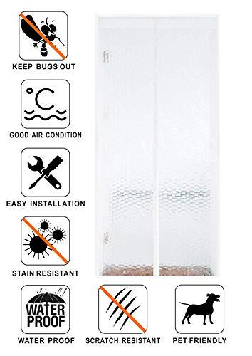 Liveinu Wärmeschutzvorhang Magnet Thermo Türvorhang Fliegengitter Panel-Isolierung Thermovorhang Wasserdicht Winddicht Klimaanlage Fliegenvorhang für Balkontür Wohnzimmer 100x210cm Weiß