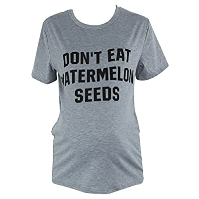 Camidy Don't Eat Watermelon Seeds Maternity Funny T Shirts Pregnancy Novelty Tee Tops
