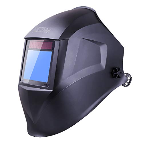TACKLIFE Welding Helmet, Top Optical Clarity (1/1/1/1), Wide Shade Range DIN 3/3-8/9-13, Large Viewing Area (3.94'x2.87'), Solar Power Auto Darkening, 4 Arc Sensor for TIG MIG MMA Plasma - PAH03D