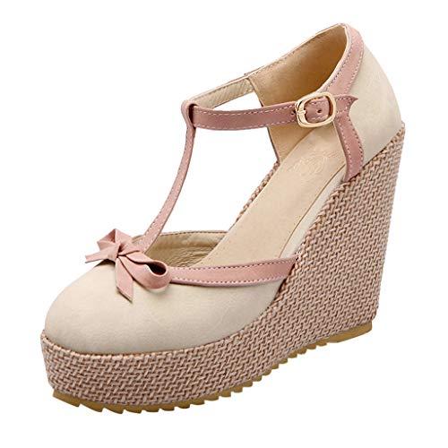 Luckycat Chic Sandalias Mujer Plataforma Cuña Verano 2020 Zapatos Mujer Tacon Altas Elegantes Alpargatas Sandalias de Mujer Fiesta Vestir Punta Abierta Correa del Lazo