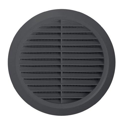 Lüftungsgitter Ø 100 mm rund graphit grau Kunststoff Insektennetz Abluftgitter Zuluft Abluft Gitter Lüftung T 30gr