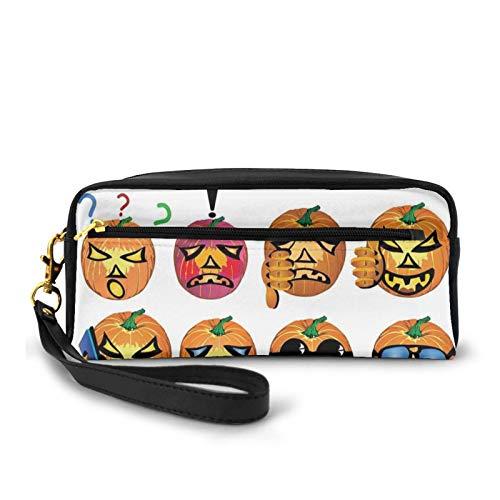 Federmäppchen aus PU-Leder, geschnitzter Kürbis mit Emoji-Gesichtern, Halloween, Humor, Hipster, Monster-Kunst, Stifttasche, Make-up-Tasche
