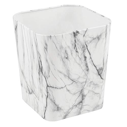 mDesign Decorative Metal Square Small Trash Can Wastebasket, Garbage Container Bin - for Bathrooms, Powder Rooms, Kitchens, Home Offices - Marble Print