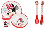 Minnie Micro Dining 5 Piece Set - Plate Bowl and Tumbler Spoon Fork Dinnerware Set for Children