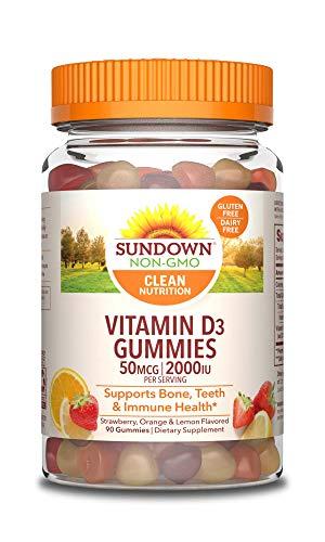 Vitamin D by Sundown, Supports Immune System, Bones and Teeth, D3 Gummies, Non-GMOˆ, Free of Gluten, Dairy, Artificial Flavors, 2000 IU, 90 Gummies
