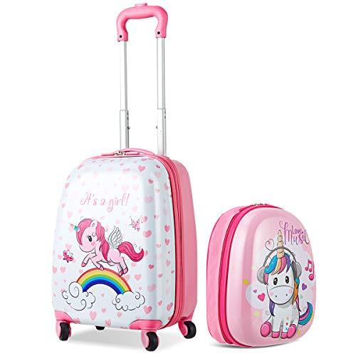 COSTWAY Set di Valigia Trolley per Bambini + Zaino, Bagaglio a Mano, con Ruote Girevoli a 360 °, Perfetto per Viaggi e Scuola, Rosa Unicorno