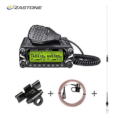 Zastone D9000 Mobile Ham Amateur Radio Transceiver Base Car Truck Vehicle Radio, 50 Watt Dual Band Ham Radio Receiver VHF/UHF Two Way Amateur Radio(Set)