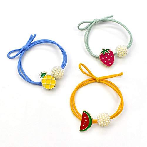 Empty 5 stuks parels vrucht haarband meisje aardbeienhaar elastiek vrouwen haaraccessoires paardenstaart houder