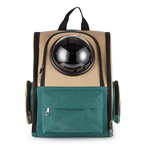 NEHARO Portable Pet Travel Breathable Backpack Portable And Portable Pet Matching Canvas Bag Space Pet Bag Cat And Dog Outing Backpack Pet (Color : Green, Size : 38x26x38cm)