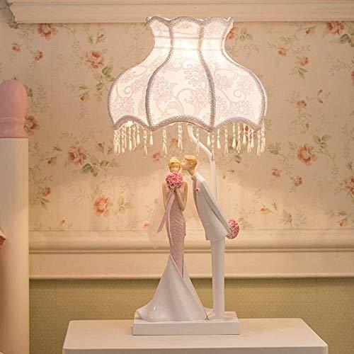 Lámpara de mesa MGWA Creative, de moda, romántica, novia y novia Lámpara de escritorio LED, luz nocturna LED gasa y colgante de cristal diseñado Pantalla para decoración, presente, camas, aniversario,