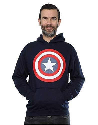 Marvel Homme Captain America Shield Sweat à Capuche Large Marine