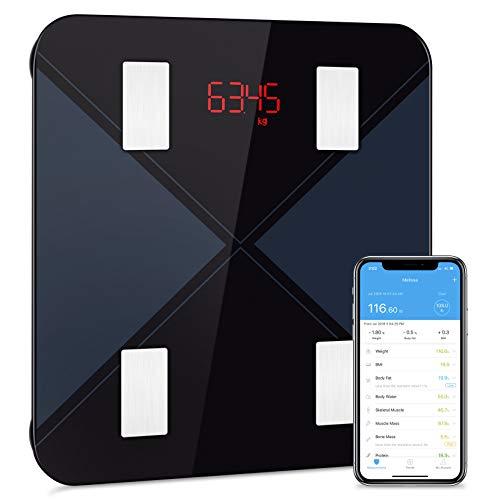 Bascula de Baño Digital Grasa Corporal, Mpow básculainteligente con App, Analizar Más de 13 Funciones, Máximo 180 Kilos, Aplicar para Andriod y Ios