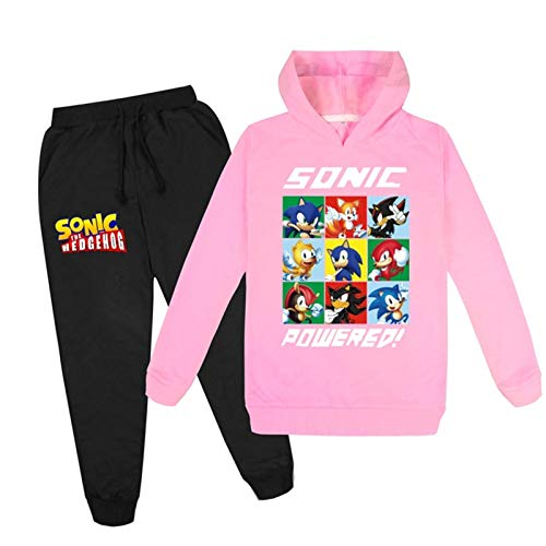 LVTIAN 2 Stück Kinder Sonic The Igel Hoodies und Hosen Trainingsanzug Outfits, Sonic Cosplay Kostüm Sonic Pullover Baumwolle Sweatshirt Kleidung Sets und Hosen for Jungen und Mädchen