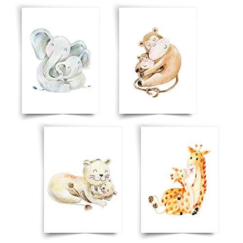 Donari ® - Mit Liebe gestaltetes 4er Set Poster für Kinder in A4 - Wunderschöne Bilder für das Kinderzimmer mit tollen Tiermotiven - Kreative Deko für das Kinderzimmer (Set Tierfamilien)
