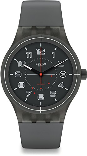 Swatch Herren Digital Automatik Uhr mit Silikon Armband SUTM401