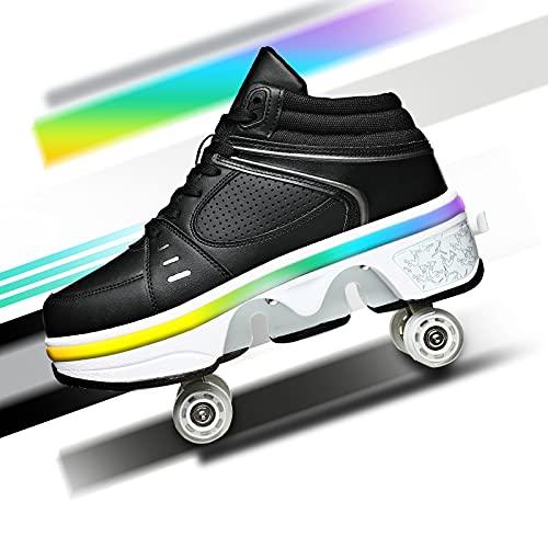 YXRPK Zapatos con Ruedas Luces LED 7 Colores Deformación Patines De Ruedas para Mujeres Hombres Multifunción Ajustable Zapatos De Skate para Principiantes