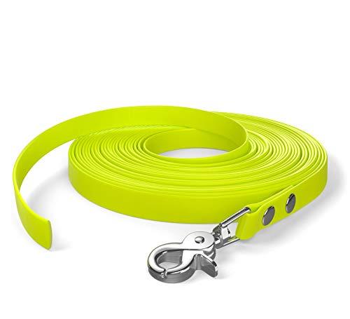 SNOOT 10m Schleppleine, Hundeleine, 1 Karabiner, Neon-Gelb, sehr stabil, schmutz- und wasserabweisend