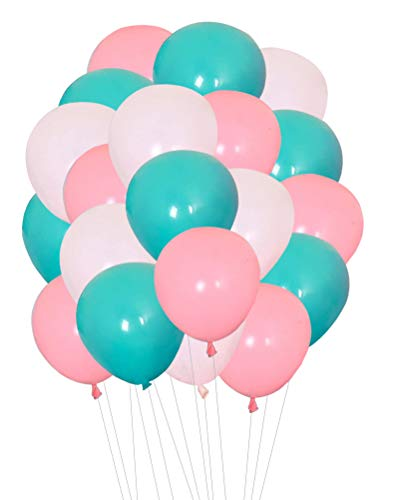 AnnoDeel 100 Pcs 12inch Pink and Mint Green Balloons, 3 Color Mint Green and light Pink White Balloons for Birthday Wedding Baby Party Decorations Supply