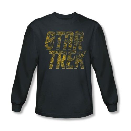 Star Trek - Schéma Logo shirt à manches longues pour homme au charbon -, Medium, Charcoal