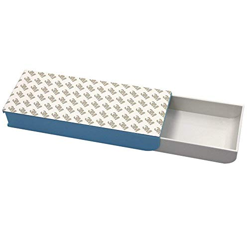 Selbstklebendes kleines Fach für unter dem Schreibtisch, Pop-Up-Schublade, Stiftablage, Organizer, blau
