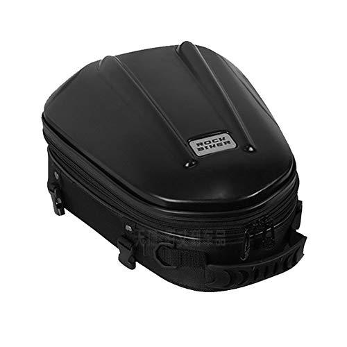 Borsa posteriore per moto con guscio rigido/Borsa per sedile Borsa per bagagli impermeabile Borsa per casco da moto in pelle PU multifunzionale Zaino da ciclismo (Medio/Nero)