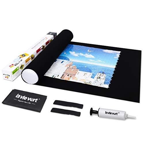 Lavievert Puzzle-Rollmatte zur Aufbewahrung von Puzzles langes Kartonpaket keine gefalteten Falten für bis zu 1.500 Stück - wird mit einer Aufbewahrungstasche und einer weißen Mini-Handpumpe geliefert