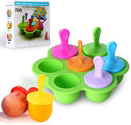 Mini molde de silicona para paletas de helado, 7 cavidades DIY con palitos de plástico coloridos, moldes para picaduras de huevo piruleta y helado contenedor de almacenamiento de alimentos para bebés