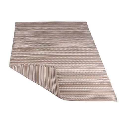 RM Design Tapis imperméable pour l'intérieur et l'extérieur (terrasse/balcon) Différents motifs 120 x 180 cm, Polyuréthane, Marron à rayures, 120 x 180 cm