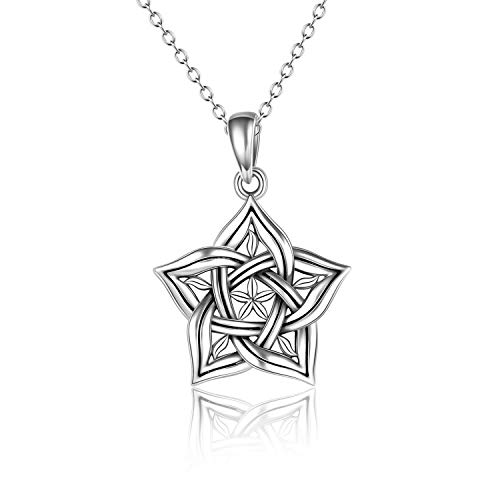 POTOPYY S925 Sterling Silver Pentagram Necklace Pentacle Pendant Star Necklace Celtic Pendant Jewelry for Women Girl Gifts