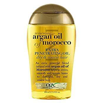 OGX Extra Strength Renewing + Argan Oil of Morocco Penetrating Hair Oil Treatment Deep Moisturizing Serum for Dry Damaged & Coarse Hair Paraben-Free Sulfated-Surfactants Free 3.3 fl oz