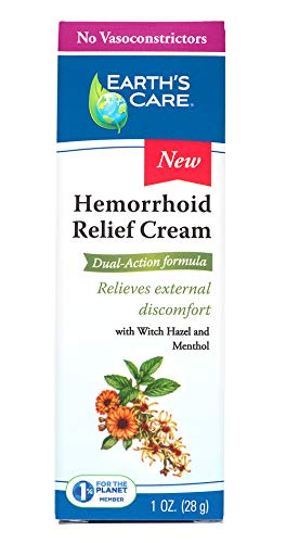 Earth's Care Hemorrhoid Relief Cream, No Vasoconstrictors, Parabens, Petrolatum, Artificial Colors, or Fragrance 1 OZ.