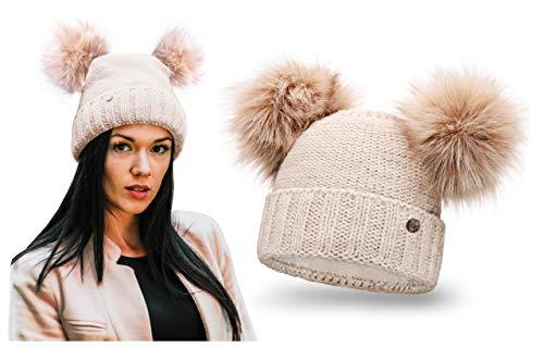 HEYO Damen Wintermütze mit Fleece Innenband Slouch Beanie Winter Mütze | Warme Strickmütze mit Zwei Bommeln | Bommelmütze mit Katzenohren (Beige)