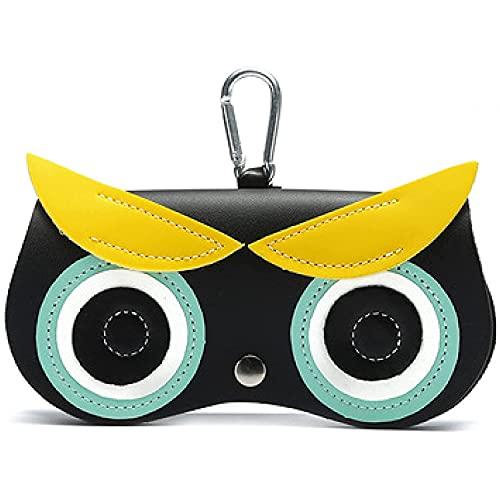 QPZM Montatura per Occhiali A Scorrimento alla Moda, Custodia per Occhiali da Cartone Animato in Pelle PU Portatile, Custodia Protettiva per Occhiali Morbida con Cinturino A Gancio-A