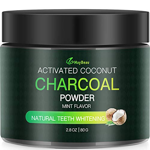 Aktivkohle Pulver MayBeau Natürliche Kokosnuss Zahnaufhellung Vegan Zahnpasta entfernt schnell Zahnstein und Zahnflecken für Weiße Zähne Zahnreinigung 100% Natürliche Bleaching