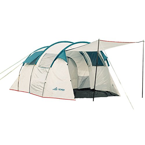 Semoo Water Resistant Tunnel Tent with 2 Sleeping Cabins, 220 cm Peak Height, 5-6-Person,Grey White,3-Room Family Tent with Large D-style Door for Camping/Traveling