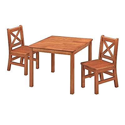 eHemco Toddler Table and 2 Chairs Set Solid Hard Wood