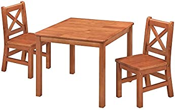 eHemco Kids Table and Chairs Set Solid Hard Wood with X Back Chairs (3, Dark Oak)