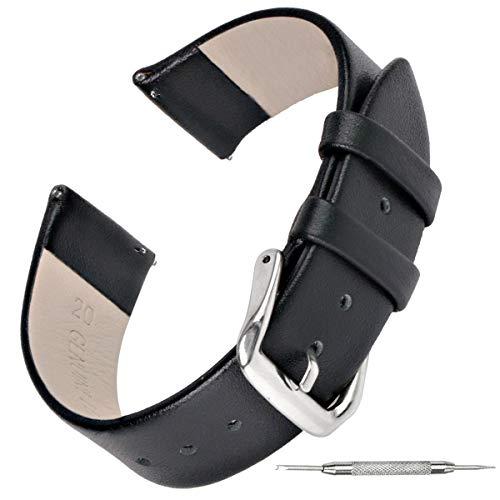 Zeit Diktator Correa de reloj inteligente 18mm 20mm 22mm Correa de reloj de cuero vintage para huawei GT/watch fit/ Amazfit GTR 42mm/GTR 47mm correa de reloj de liberación rápida(Business black, 18mm)