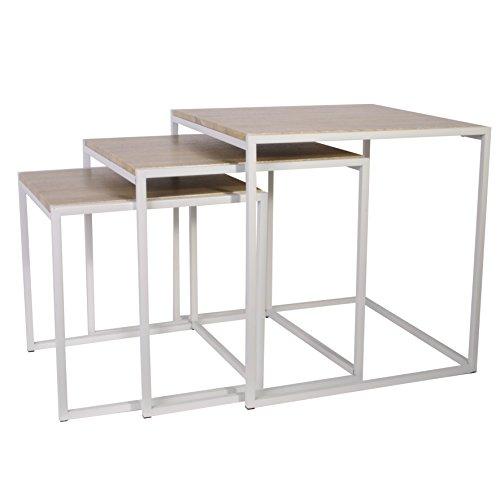 THE HOME DECO FACTORY HD3845 Tables Carrée, Bois - Blanc, 45 x 45 x 45 cm