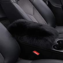 Forala Fluffy Car Armrest Seat Box Cover Protector Warm Furry Sheepskin Wool Auto Center Console Cover Universal Fit,Black