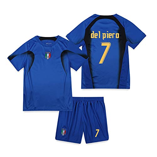 Retro 2006 italienische Fußballuniform Piero 7 Totti 10 Nesta 13 Perrotta 20 Fans Trainingsuniformen, Student Adult Football Jersey Kits T-Shirt Shorts-No.7-S