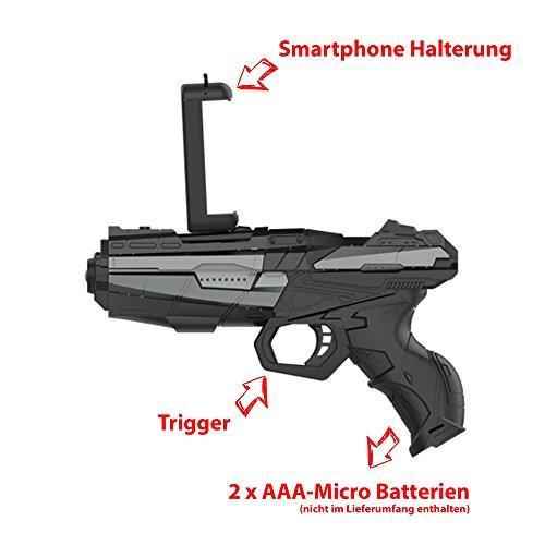 HSP Himoto AR Augmented Reality Gun Pistole, Gewehr für interaktive Bluetooth Video Spiele mit dem Smartphone, Kompatibel mit Android und IOS, Neu OVP