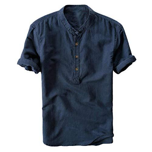 Camisa de Popelina Casual de Corte Regular para Hombre Camisa de Manga Corta de Lino y algodón con Cuello Alto Europeo y Americano X-Large