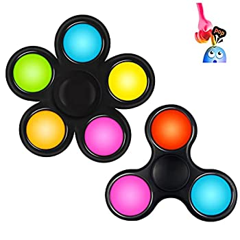 BestTime Mini Pop Fidget Spinners Simple Dimple Fidget Toy Push Pop Bubbles Hand Sensory Toy 2Pack  Stress Relief Anti-Anxiety Autism Popper Toys for Kids Teen Adults  B-Set